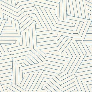 Sample - Schumacher Deconstructed Stripe Geometric Wallpaper in Cobalt Blue For Sale