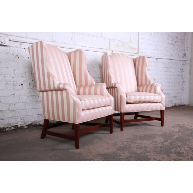 1980s Baker Furniture Wingback Lounge Chairs, Pair For Sale - Image 5 of 13