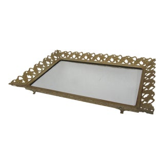 Mid-Century Gold Vanity Tray For Sale
