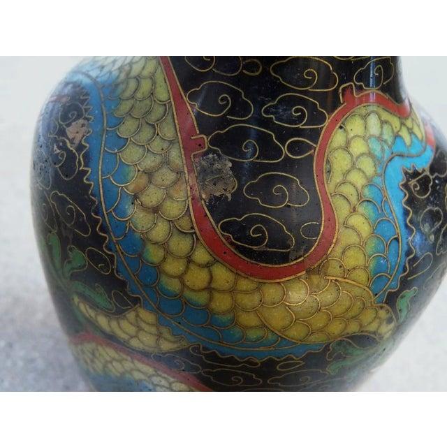 Black Dragon Cloisonne Vase - Image 2 of 4