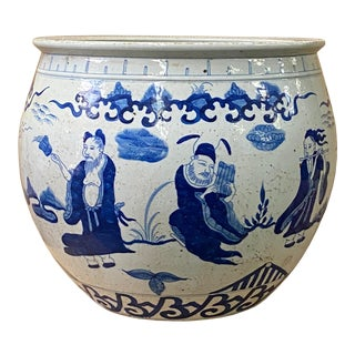 Chinese Blue White Oriental Immortal People Scenery Porcelain Pot For Sale