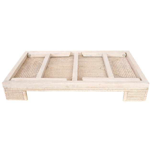 Artifacts Rattan Breakfast Tray/Table - White Wash For Sale - Image 4 of 6