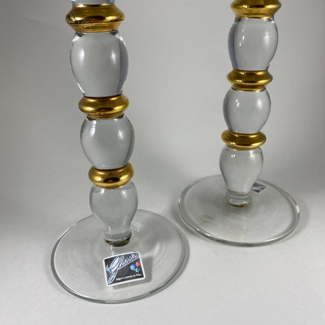 Gold 1980s Glassics Impressions Glass Candle Holders - a Pair For Sale - Image 8 of 9