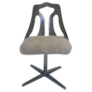 Lucite and Faux Fur Swivel Desk Chair For Sale