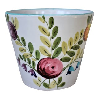 Vintage Italian Hand Painted Floral Cachepot For Sale