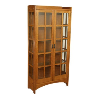 Stickley Mission Collection Oak 2 Door Display Cabinet For Sale