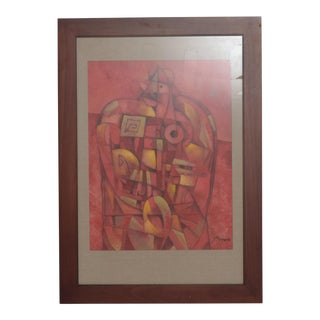 Mexican Modernist Byron Galvez Abstract Expressionism Mixed Media Art, Red For Sale