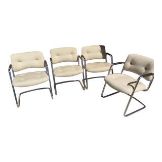 1980's Vintage Steelcase Cantilever Chairs- Set of 4 For Sale