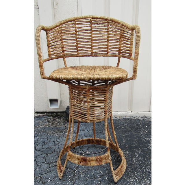 Contemporary Vintage Woven Rattan Bar Stools / Counter Stools - a Pair For Sale - Image 3 of 12