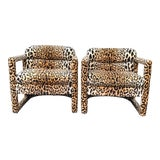 Image of 1960s Drexel Parsons Chairs in Cheetah Velvet - a Pair For Sale