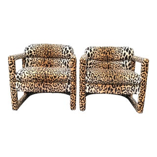 1960s Drexel Parsons Chairs in Cheetah Velvet - a Pair For Sale