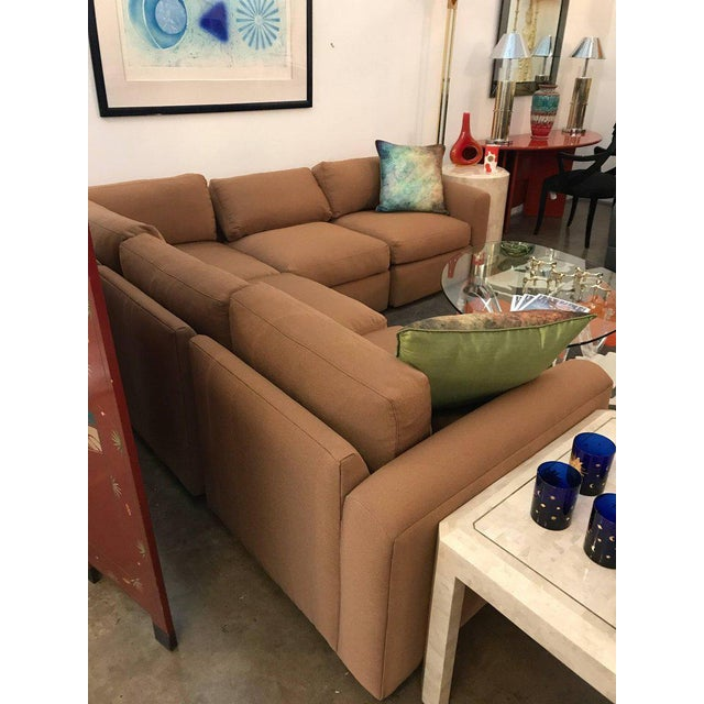 Mid Century Modern Milo Baughman for Thayer Coggin 5 Piece Sectional Sofa in New Knoll Upholstery - Image 6 of 7
