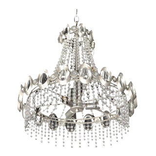 Gaetano Sciolari Chrome & Crystal Chandelier
