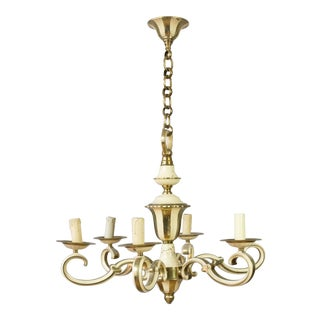 1940's French Brass and Enamel Chandelier For Sale