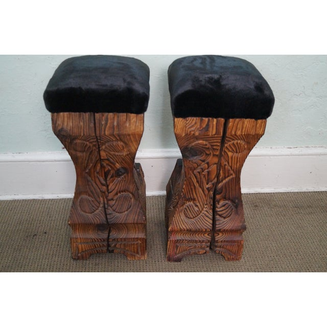 Vintage 1970s Witco Carved Tiki Bar Stools -- A Pair - Image 4 of 10