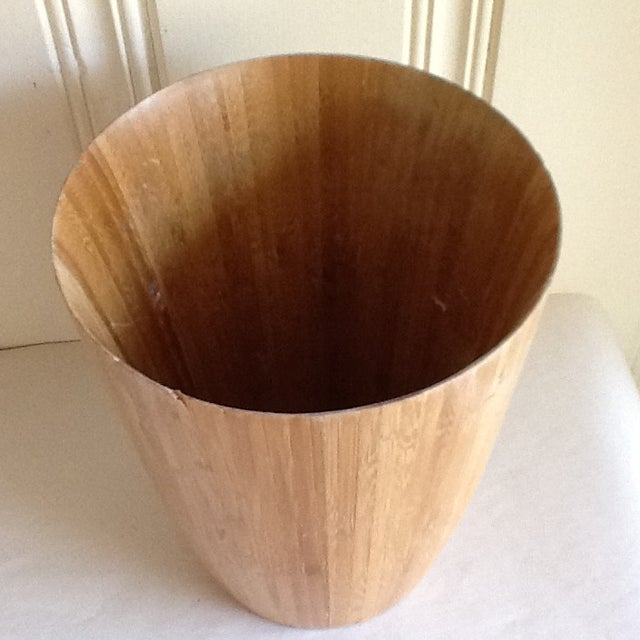 Bamboo Wood Waste Basket For Sale - Image 4 of 8