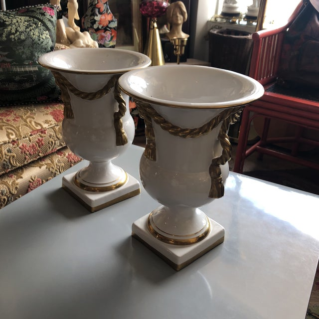 Italian Tassel Urn Vases - a Pair For Sale - Image 6 of 10
