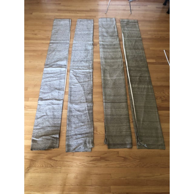 Gold Crate & Barrel Raw Silk Curtain Panels - Set of 4 For Sale - Image 8 of 8