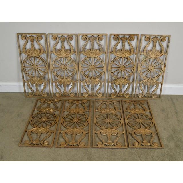 Art Deco Antique Vintage 1940's Set of 9 Cast Iron Railing Panels For Sale - Image 4 of 13