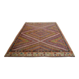 """Vintage Turkish Rug Hand Woven Wool Braided Cotton Area Rug Kilim - 6'4"""" X 8'4"""" For Sale"""