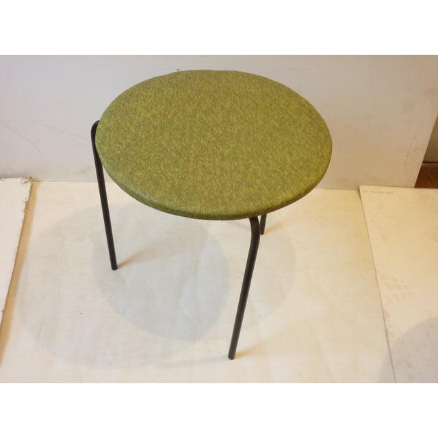 Danish Modern 1950's Modern Iron Tripod Stools - A Pair For Sale - Image 3 of 6
