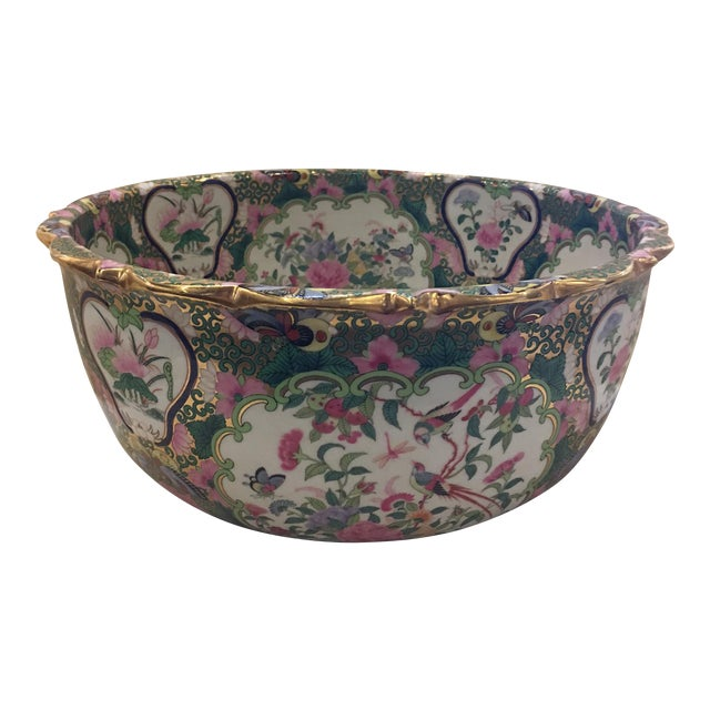 Chinese Canton Style Famille Rose Porcelain Punch Bowl For Sale
