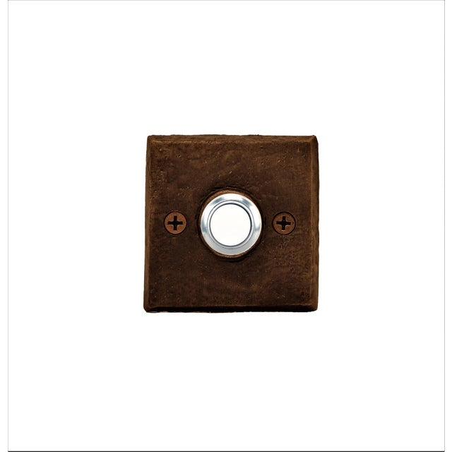 Square Classic Doorbell, Traditional Patina For Sale - Image 4 of 4