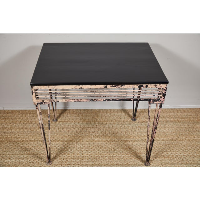 Vintage Iron Table With Black Wood Top For Sale In Los Angeles - Image 6 of 9