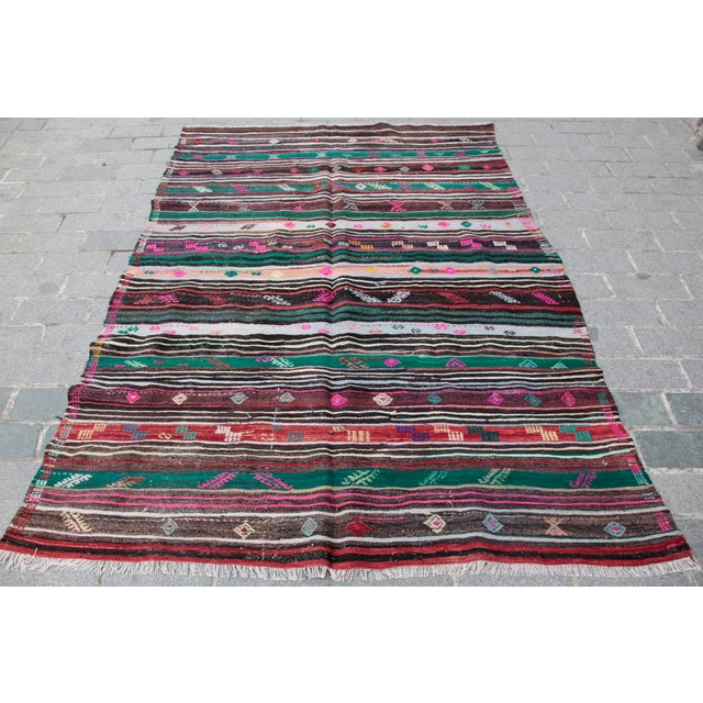 This is a Beautiful Kilim from Balikesir city,it is in west part of anatolian. it is very famous with hand weaving like...