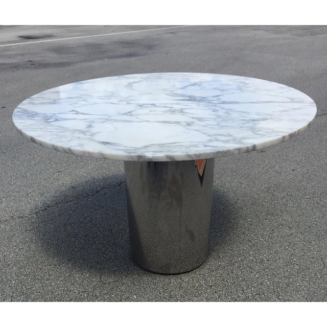 1960s Mid-Century Modern Marble and Chrome Dining Table For Sale - Image 11 of 11