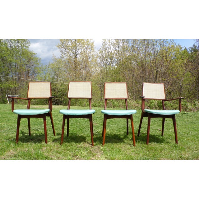 Mid-Century Modern Walnut & Cane Dining Chairs - Set of 4 For Sale - Image 4 of 11