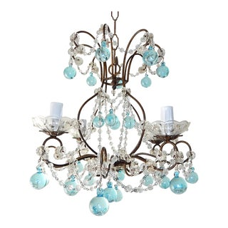 1920s Italian Florentine Crystal Swags Aqua Blue Murano Drops Chandelier For Sale