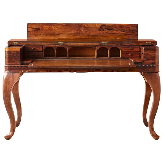 Queen Anne Desk >> Early 20th Century Queen Anne Style Rosewood Spinet Desk