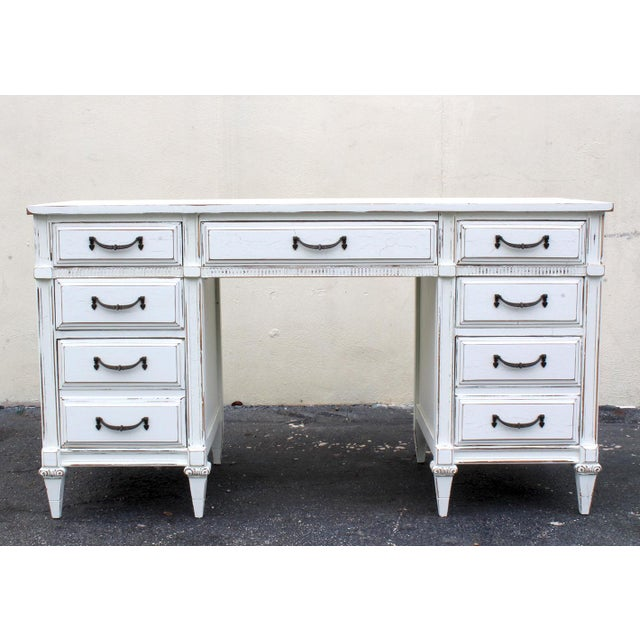 Mid-Century White Desk - Image 4 of 7