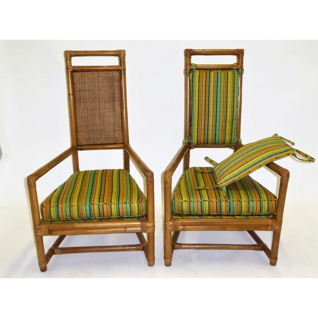 Willow and Reed Pair of Tommi Parzinger High Back Rattan Armchairs for Willow & Reed Pavillion Collection, 1950s For Sale - Image 4 of 13