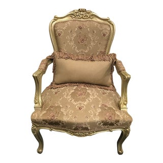Handmade French Style Gilded Chair With Pillow For Sale