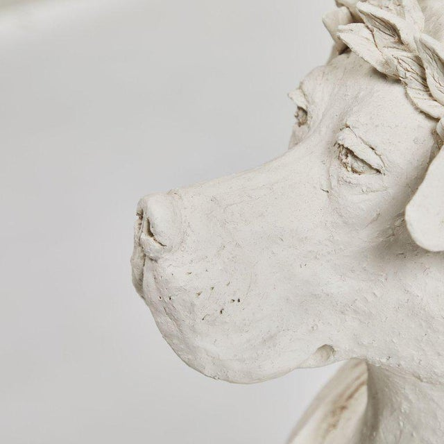 Neoclassical Revival Dog Sculpture in Plaster For Sale - Image 3 of 5