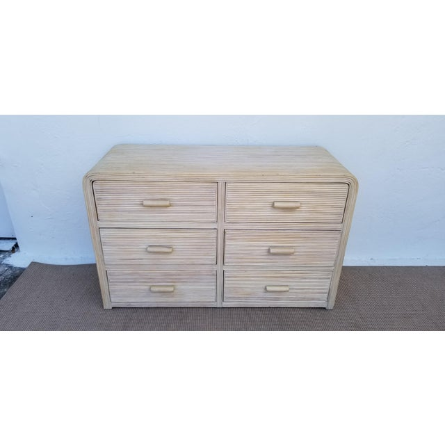1980s Hollywood Regency Pencil Reed Rattan Cabinet For Sale - Image 13 of 13