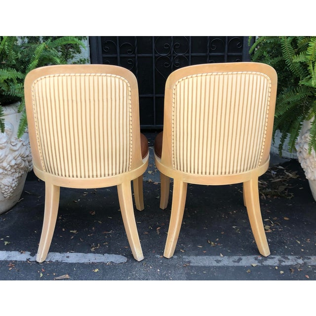 Pair of Vintage Signed Donghia Modern Designer Side Chairs - Newly upholstered w Lizard embossed leather seats, lamb wool...