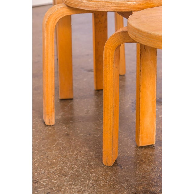 Wood 1960s Alvar Aalto Style Small Stacking Stools - Set of 3 For Sale - Image 7 of 9