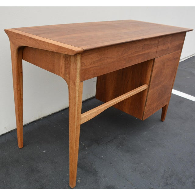 Mid-Century John Van Koert for Drexel Profile Walnut Floating Desk For Sale - Image 9 of 10