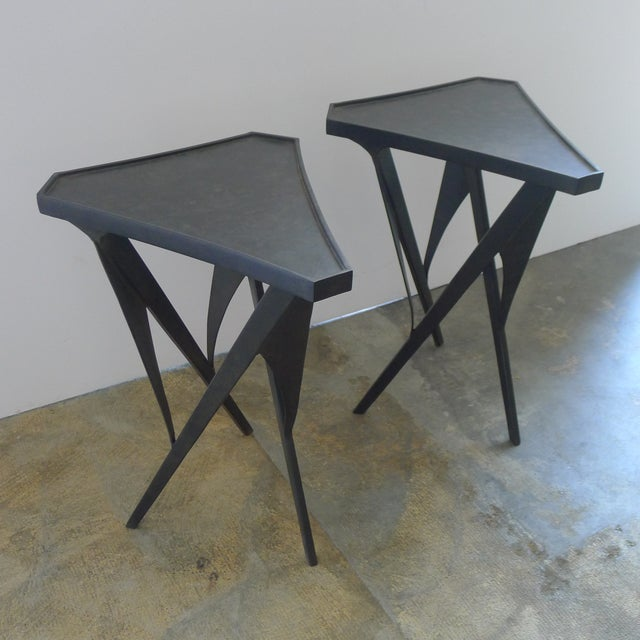 2010s Paul Marra Triangular Steel Side Table For Sale - Image 5 of 7
