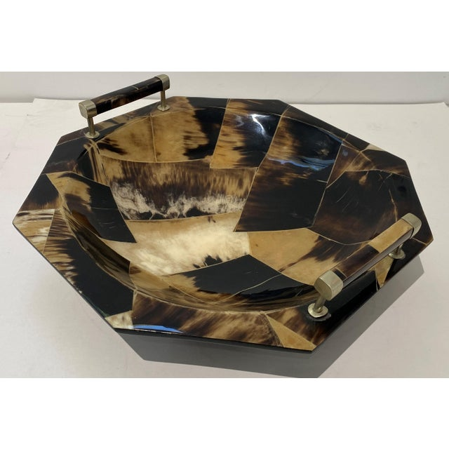 Vintage Octagonal Tessellated Horn Serving Bowl With Handles For Sale In West Palm - Image 6 of 13