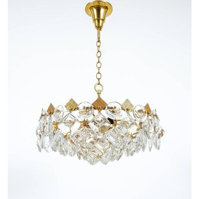 Gold Petite Gilded Brass and Glass Chandelier Lamp by Palwa, 1970 For Sale - Image 8 of 8