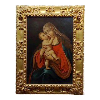 "18th Century Italian ""Madonna With Child"" Old Master Oil Painting For Sale"