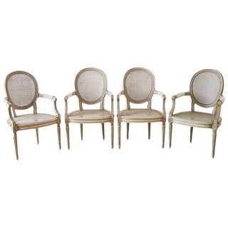 Set of Four Louis XVI Gustavian Style Dining Chairs For Sale
