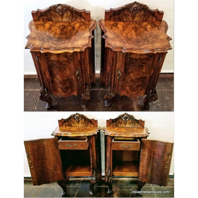 Late 19th Century Antique Italian Olive Wood Neo-Rococo Venetian Baroque Six Piece Bedroom Suite For Sale - Image 5 of 13