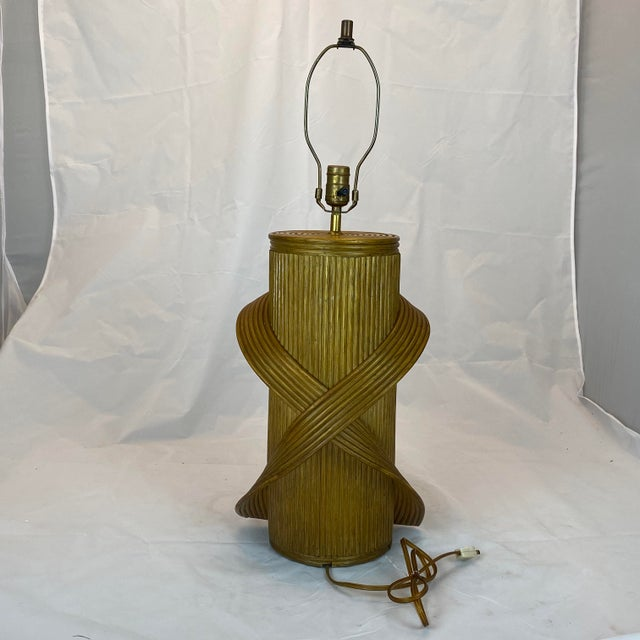 Vintage Gabriella Crespi Style Reeded Rattan Sculptural Table Lamp For Sale - Image 10 of 13