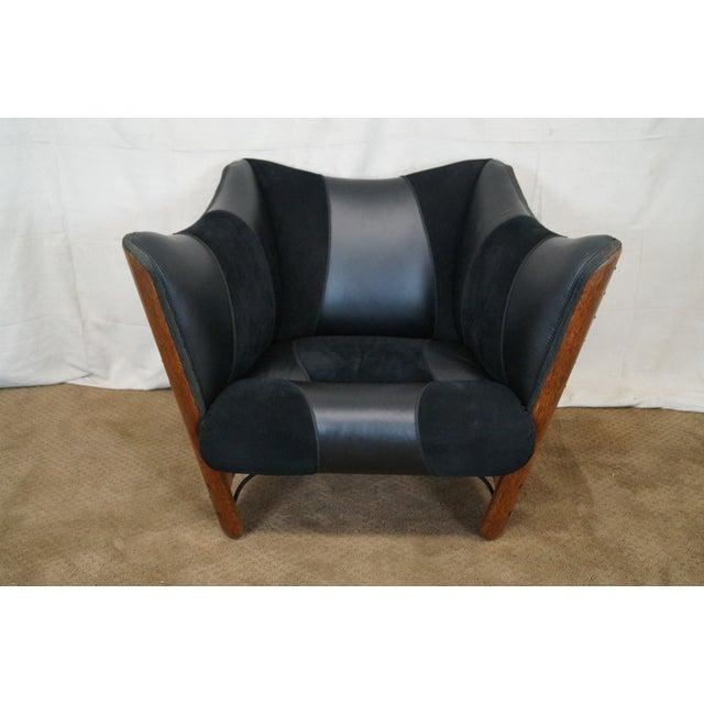 Brazilian Walnut Wing Lounge Chair - Image 2 of 10