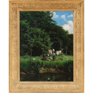 "Late 19th Century ""Washerwomen"" Realist Figurative Plein Air Oil Painting by Viggo Pedersen, Framed For Sale"